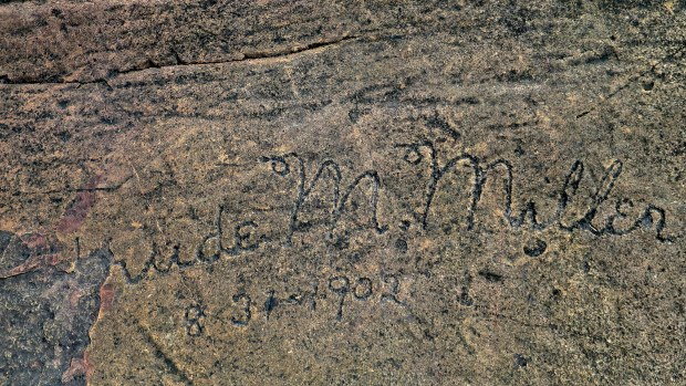 Names carved on the rock in 1902, Artists' Point, Grand Marais, Minnesota