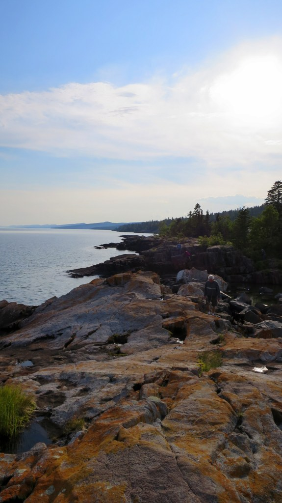 Climbing around on rocks, Grand Marais, Minnesota