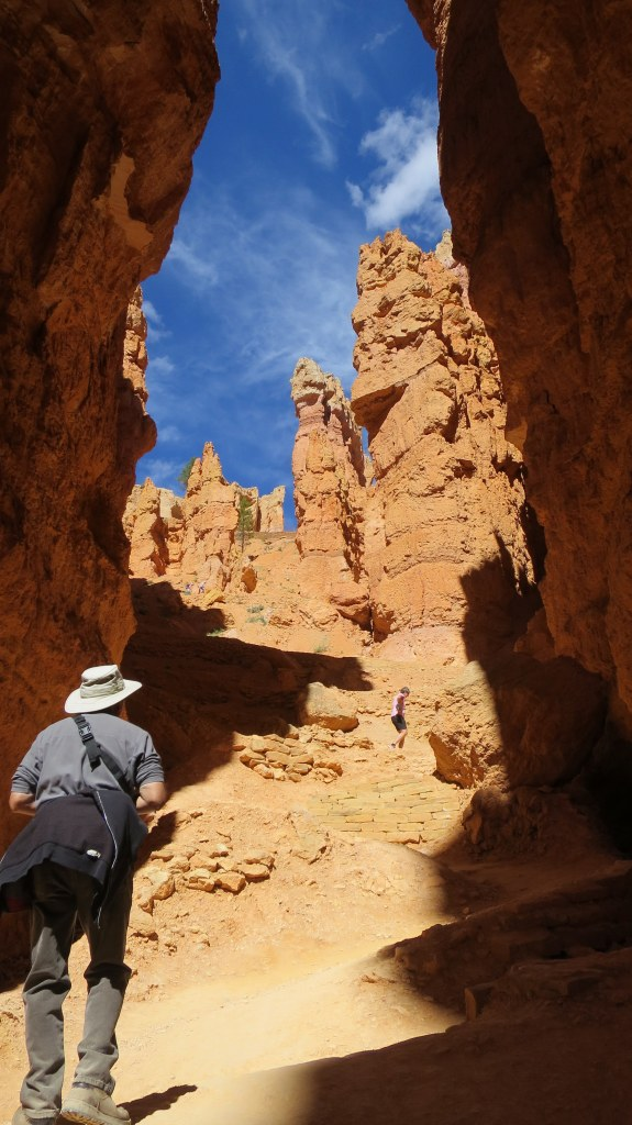 Terry walking in Wall Street, Navajo Loop Trail, Bryce Canyon National Park, Utah