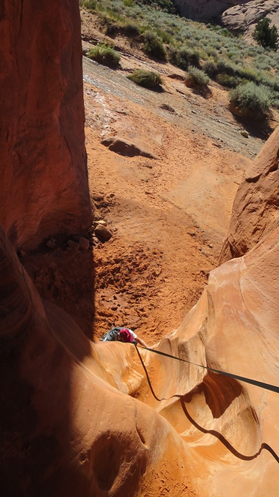 Tom coming up Peek-a-Boo Slot Canyon, Hole-in-the-Rock Road, Grand Staircase-Escalante National Monument, Utah