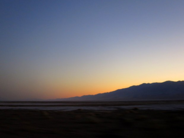 Sunset through the dust storm, Death Valley National Park, California