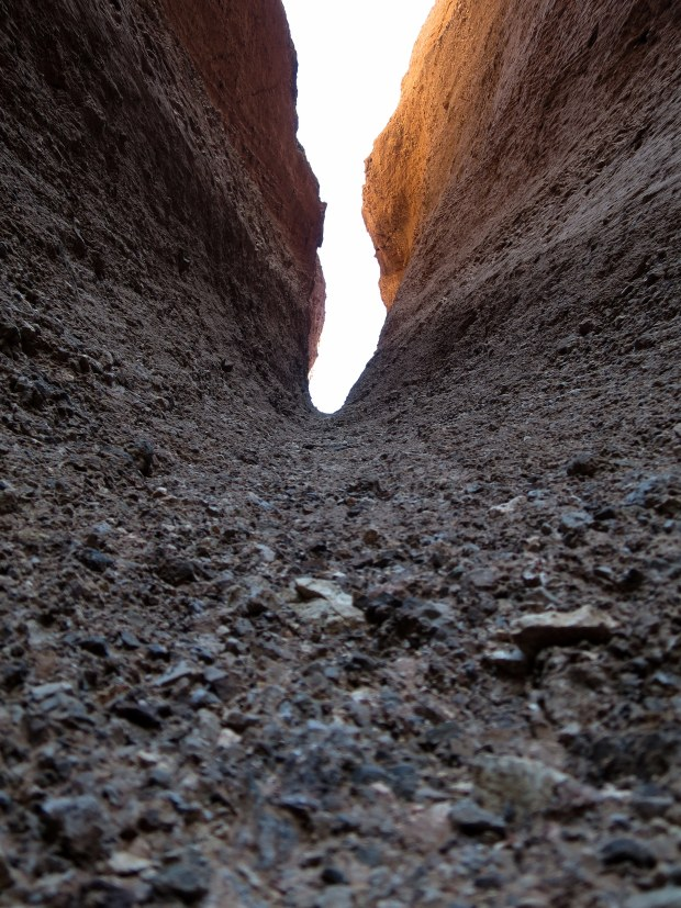 Looking up the chute, Natural Bridge Canyon, Death Valley National Park, California