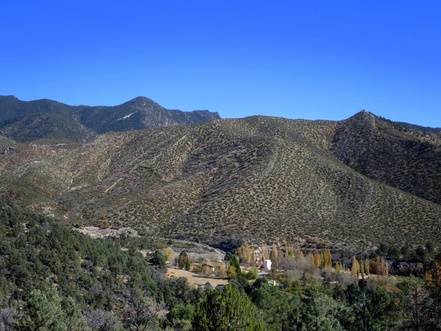 View from the top of the saddle (with the privately-owned Sky Mountain Ranch below), Lovell Canyon Trail, Spring Mountains National Recreation Area, Humboldt-Toynbee National Forest, Nevada