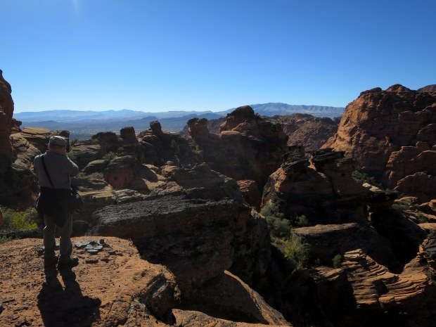 Terry photographing the black volcanic rock, Snow Canyon State Park, Utah