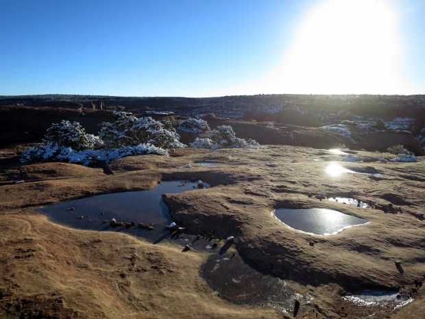 More frozen pools at Sliding House Overlook, Canyon de Chelly National Monument, Arizona