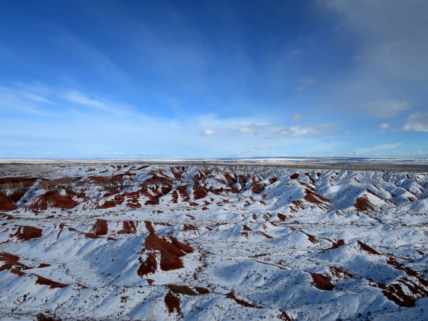 Snow-covered Painted Desert, Petrified Forest National Park, Arizona
