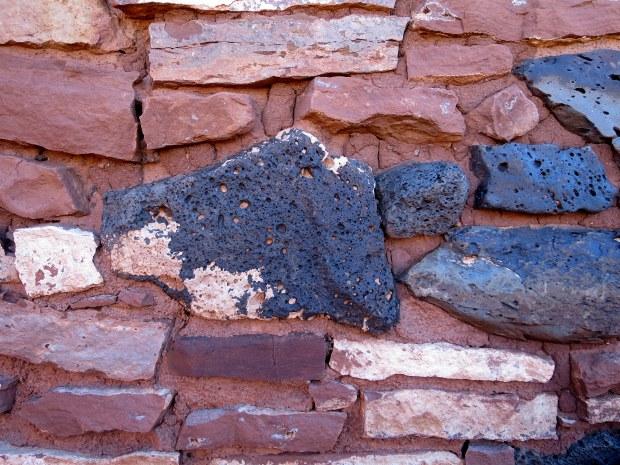 Volcanic pumice in banded masonry of Nalakihu, Wupatki National Monument, Arizona