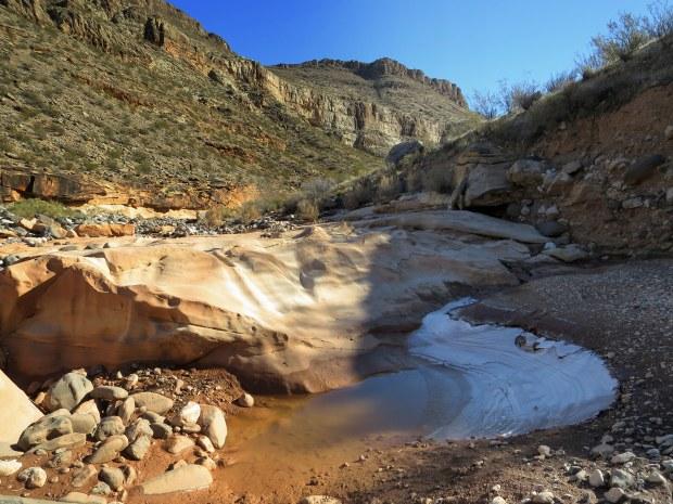 Ice in the shadows, Black Rock, Arizona