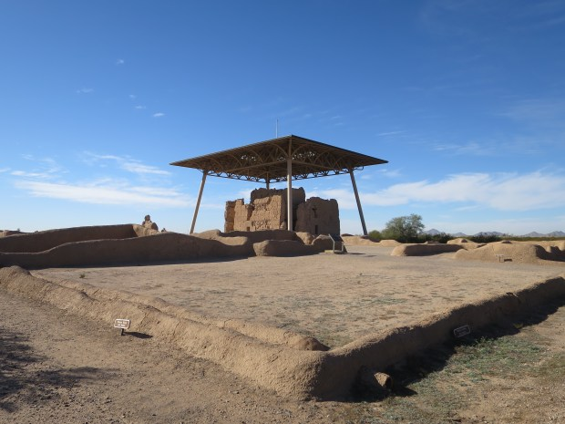 Plaza (meeting and working place) with Great House in background, Casa Grande Ruins National Monument, Arizona