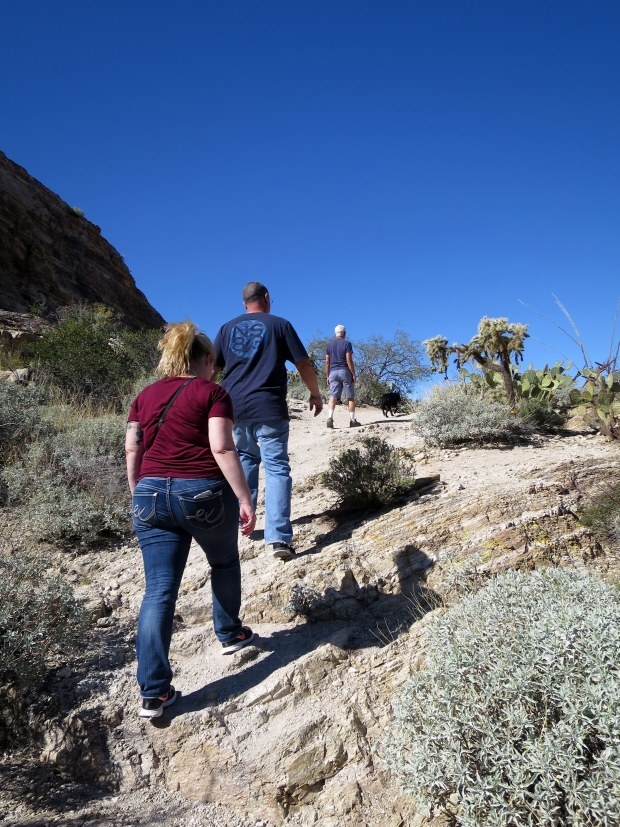 Tina, Kurt, and Tom walking around Javelina Rocks, Saguaro National Park, Tucson, Arizona