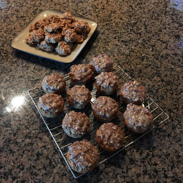 Almond butter apple cookies and apple cinnamon muffins with maple pecan icing