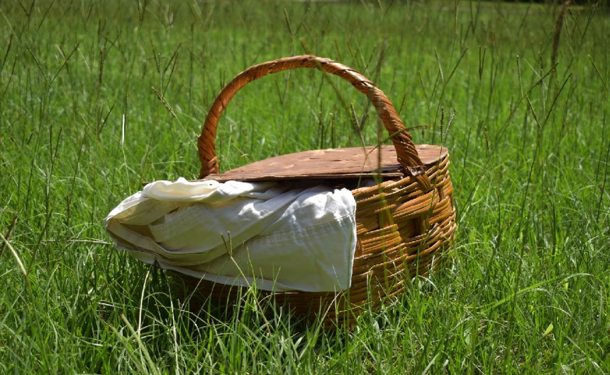 Wicker picnic basket with rug inside, in a field of grass