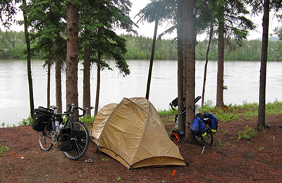 Our campsite beside the Yukon River, at Carcross.
