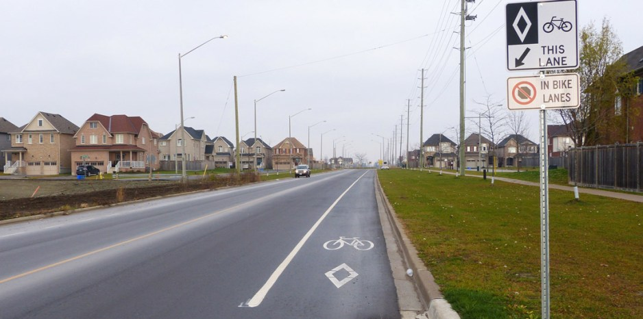Bicycle lane on newly reconstructed Green Road in Bowmanville