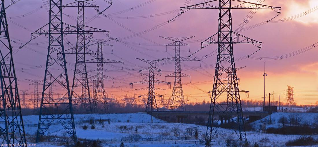 High-voltage transmission lines near Darlington Nuclear Generating Station.