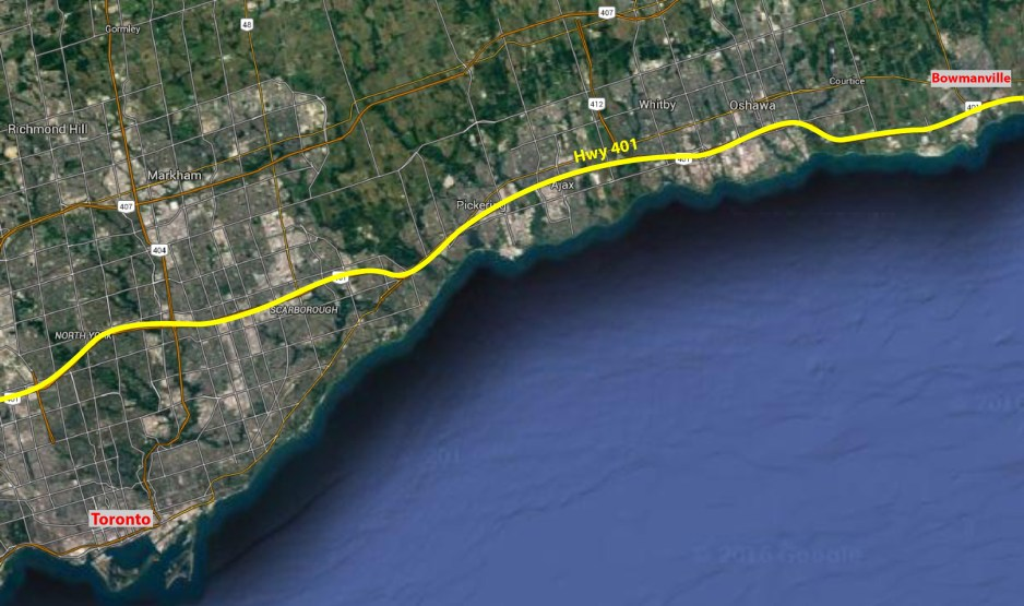 A google satellite map of Toronto and its eastern suburbs.