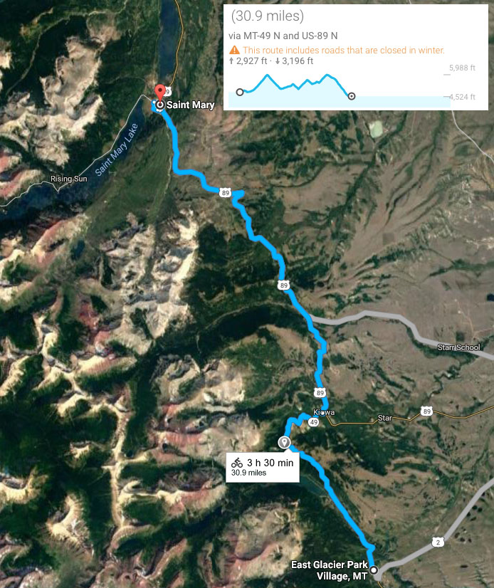 Google map of route from East Glacier to St. Mary, with elevation profile