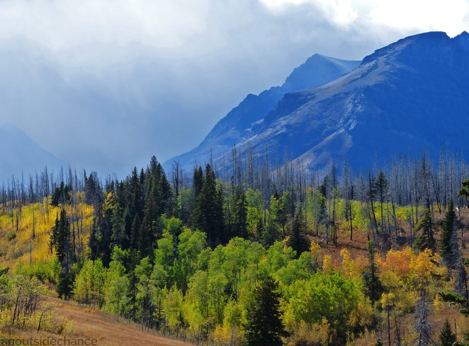 Rain clouds over the mountains in Glacier National Park, Sept 18 2016