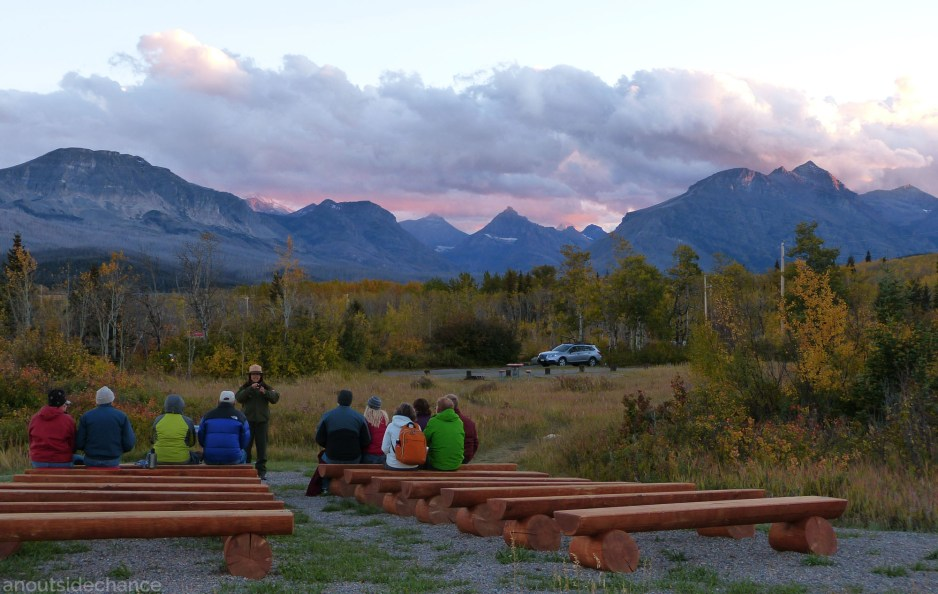 Gathering in campground at sunset, Glacier National Park