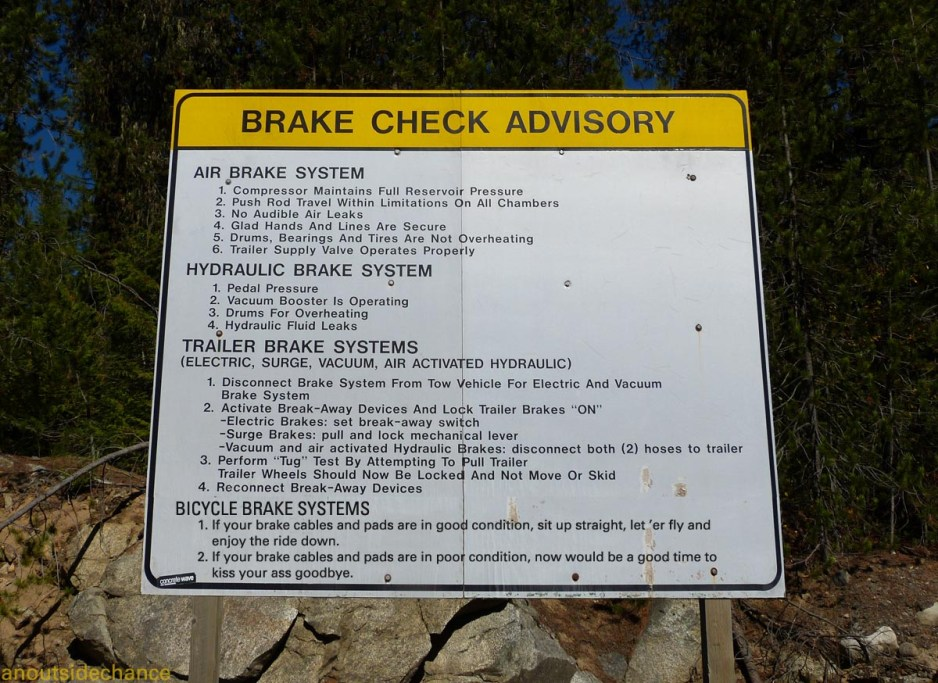 Check Your Brakes sign including procedures for cyclists.
