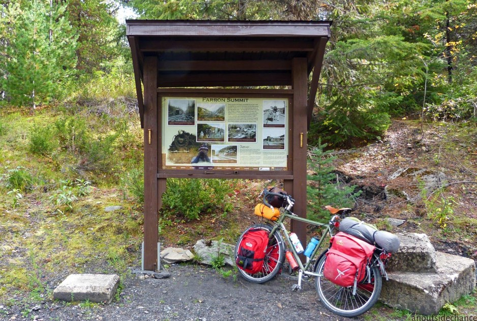 At 1200 meters, Farron Summit is the highest elevation point of the Columbia & Western. (Click here for enlargement of sign.)