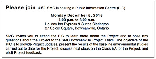 St Marys Cement notice of Public Information Centre, Monday December 5, 2016
