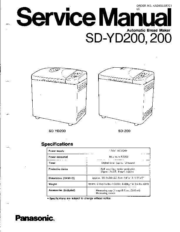 Panasonic bread maker manual sd200