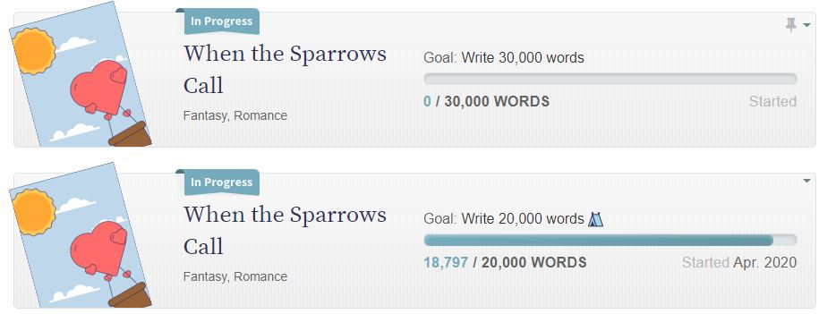 When the Sparrows call: Nanowrimo progress