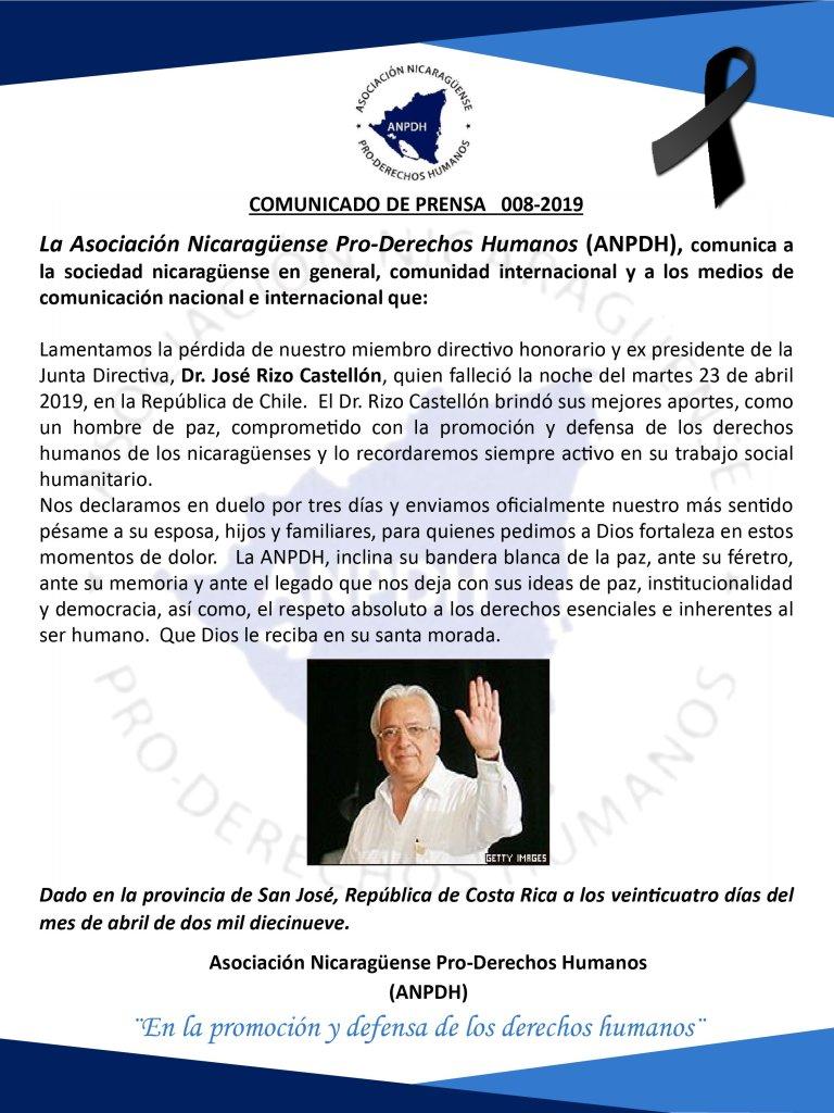COMUNICADO DE PRENSA 008-2019