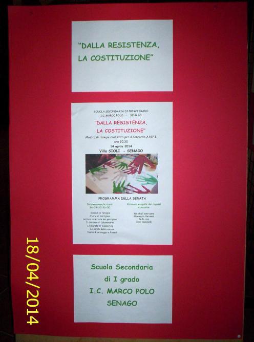 """Concorso ANPI - scuola secondaria di I grado I.C. Marco Polo Senago: """"Dalla Resistenza la Costituzione"""""""