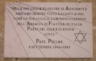 Lapide dedicata a Paul Pollak (giardino di Villa Giustiniani Bandini)