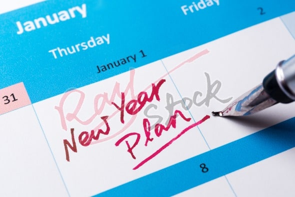 New year plan words written on calendar
