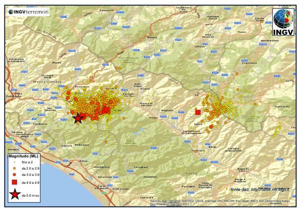 La sequenza in Lunigiana e quella nella zona di Forlì dal gennaio 2013 (fonte: INGV)
