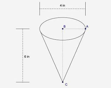 Find the slant height of the cone. the slant height is the