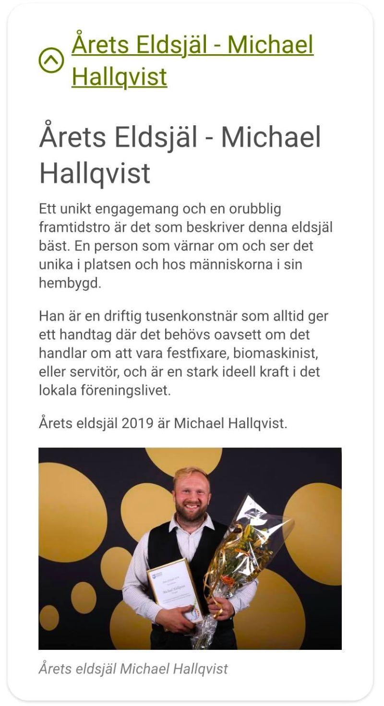 The Real Experience - Michael Hallquist, Årets Eldsjäl 2019 i krokoms kommun. Foto © Krokoms Kommun.