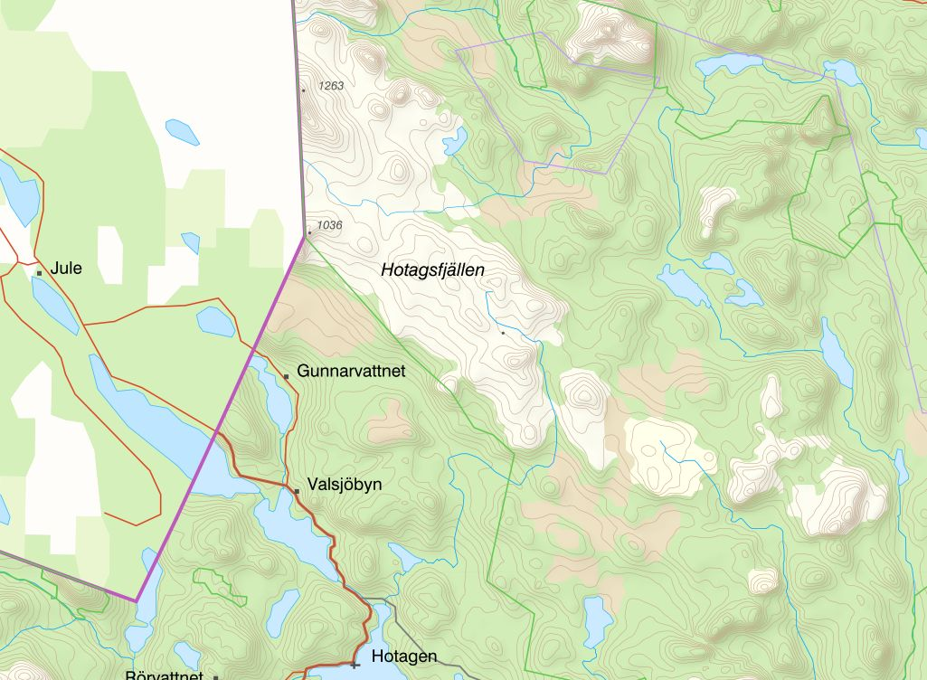 Karta Hotagsfjällen.