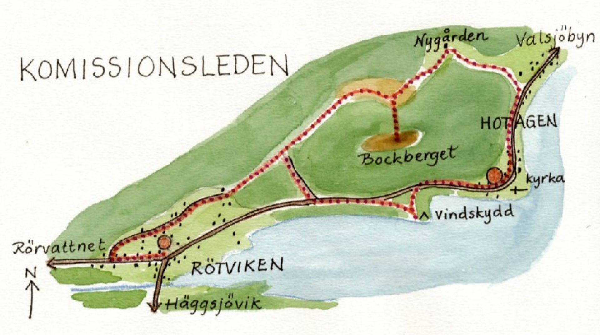 Kommissionsleden ledkarta. Illustration Rut Magnusson.