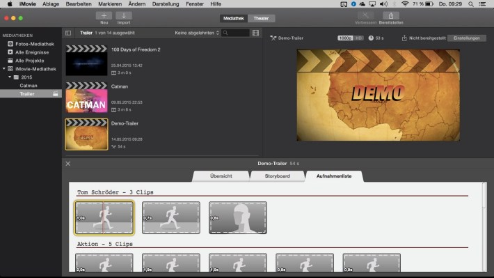 Apple MacBook Air creating a Trailer with iMovie