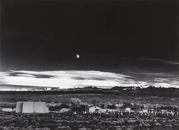 Image result for Ansel Adams takes a picture of a moonrise