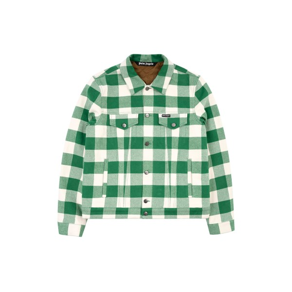 Palm Angels checkered jacket green front