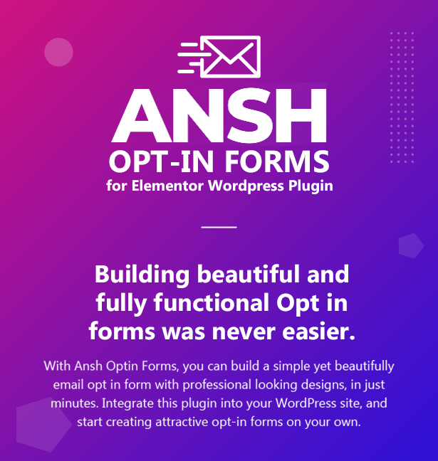 Ansh Optin Forms for Elementor WordPress Plugin