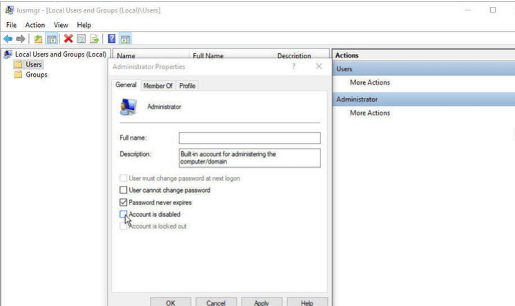Enable Administrator Account