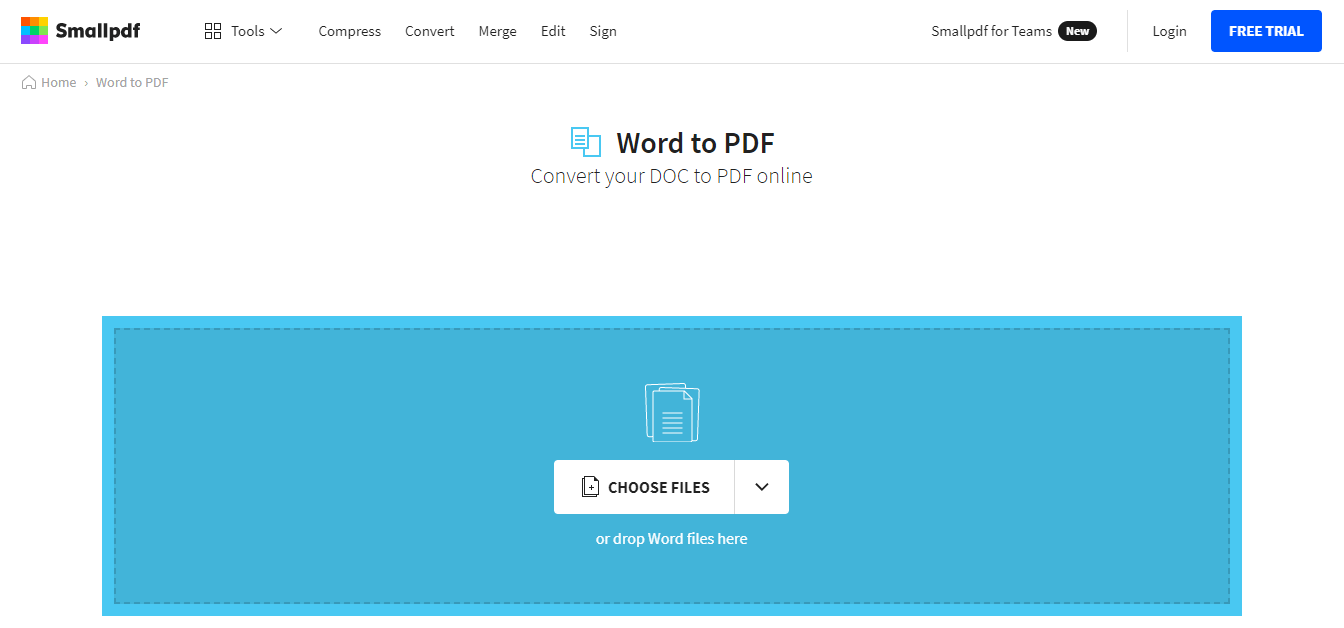 Convert word to PDF using smallpdf