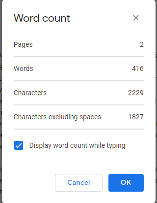 Display Word Count While Typing