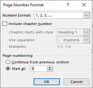 Page Numbering on Page 3