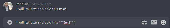 Bold and Italics in discord