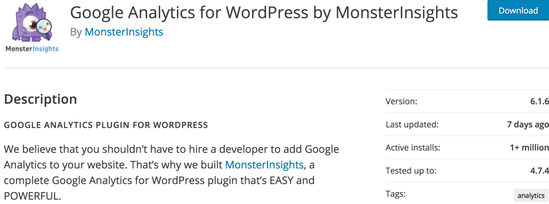 Google Analytics Plugin MonsterInsights