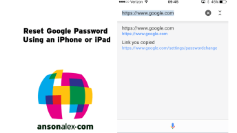 reset google password iphone