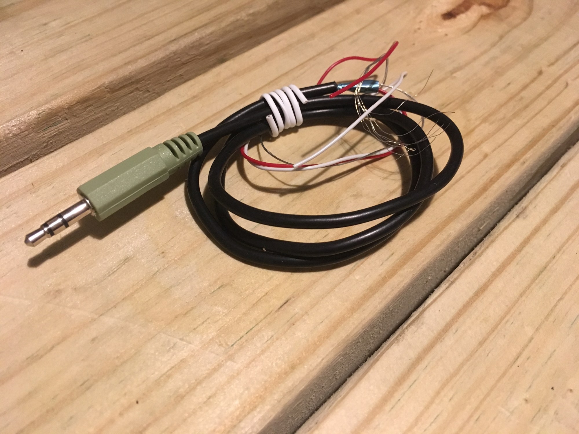 hight resolution of i stripped a normal tip ring sleeve trs audio jack cable to expose the three wires within left right ground these wires were then connected to their