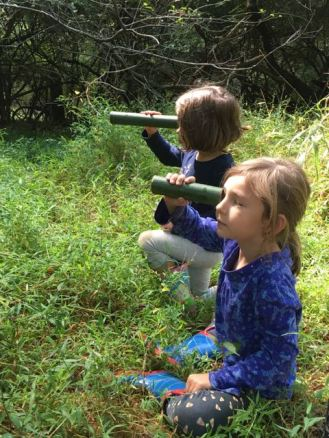 Looking at deer with bamboo scopes